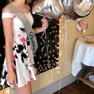 Flower printed off the shoulder dress